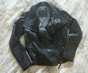 Zip Bod Asymmetrical New Soft Jacket amp; Collar Drape S Leather Moto Christensen g1ng6UOxa