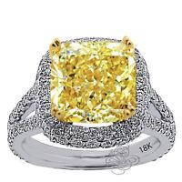 7.79CT AMAZING FANCY YELLOW RADIANT CUT DIAMOND HALO ENGAGEMENT RING 18K GOLD