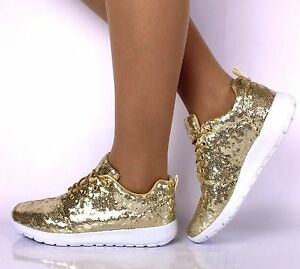 Image is loading LADIES-GOLD-SEQUIN-GLITTER-SPARKLY-TRAINERS-PUMPS-GIRLS- 8b69be4638