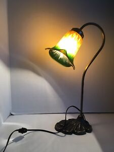 Table Lamp Tiffany Style Calla Lily Gold Green Electric Ebay