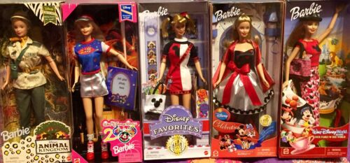 DISNEY WORLD & DISNEYLAND PARKS 5 BARBIE SET MATTEL 1998 2002 w ANIMAL KINGDOM