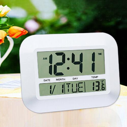 Multifunction Digital LCD Lazy Mute White Desk Alarm Clock Thermometer Calendar
