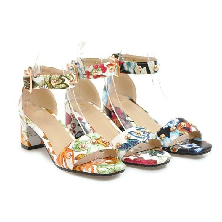 New Flower Pattern Ladies Summer Sandals Ankle Strappy Buckle Block Heels Pumps
