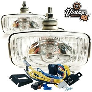 Classic-Vw-Stainless-Steel-Front-Fog-Lights-Fog-Lamps-12v-Wiring-Loom-Relay