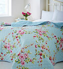 Catherine Lansfield Canterbury Floral Blue 240cm X 260cm Bedspread