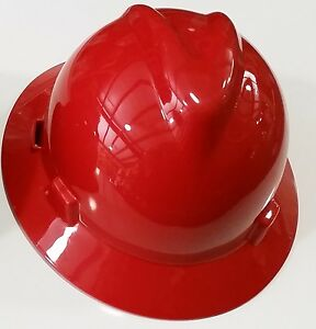MSA-475371-RED-Full-Brim-V-Gard-SLOTTED-Safety-Hard-Hat-Ratchet-Susp-Fast-Ship