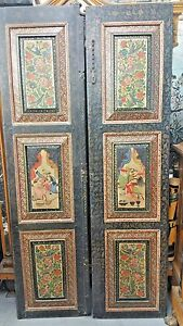 Image is loading A-PAIR-OF-ANTIQUE-PERSIAN-MINIATURE-PAINTING-ON- & A PAIR OF ANTIQUE PERSIAN MINIATURE PAINTING ON WOOD QAJAR DOORS ...