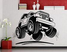 Jeep Wall Decal Wrangler Monster Truck Car Vinyl Sticker Art Decor Mural (4ex)