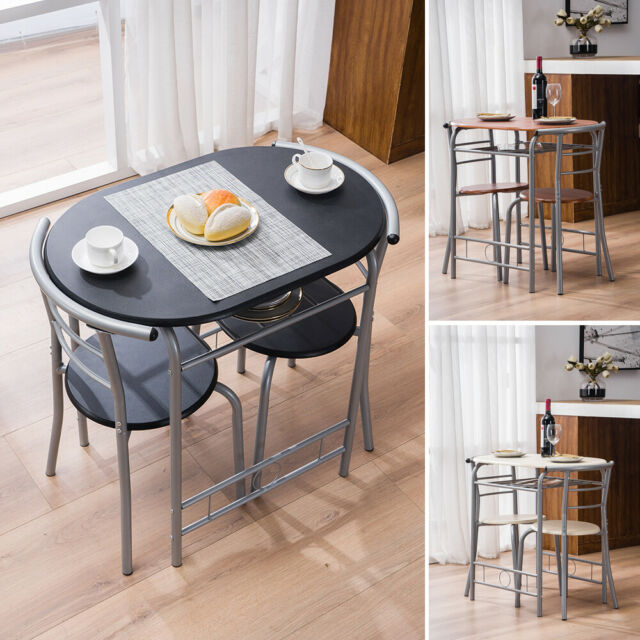 3pc Small Dining Table And 2 Chairs Home Kitchen Metal Breakfast Dinner Room Set