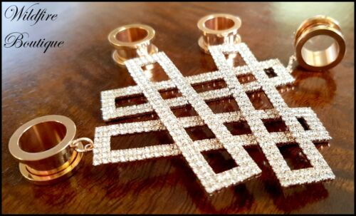 Pair Rose Gold Rectangle Crystal Dangle Stainless Steel Ear Tunnels Plugs 6-25mm