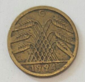 1924 GERMAN 5 REICH PFENNIG COIN  rare   G - Clacton-on-Sea, United Kingdom - 1924 GERMAN 5 REICH PFENNIG COIN  rare   G - Clacton-on-Sea, United Kingdom