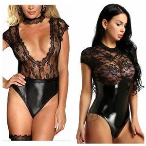 Sexy-Women-039-s-Lace-Lingerie-Underwear-Nightwear-Bodysuit-Thong-Sleepwear-Babydoll