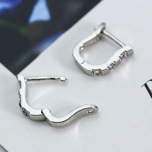 925 Silver White Sapphire Dangle Earrings Jewelry Women Wedding Party Gift