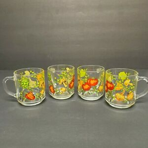 Vintage-Set-of-4-Arcoroc-Glass-Coffee-Tea-Mugs-Mushrooms-Peppers-Onions-8oz
