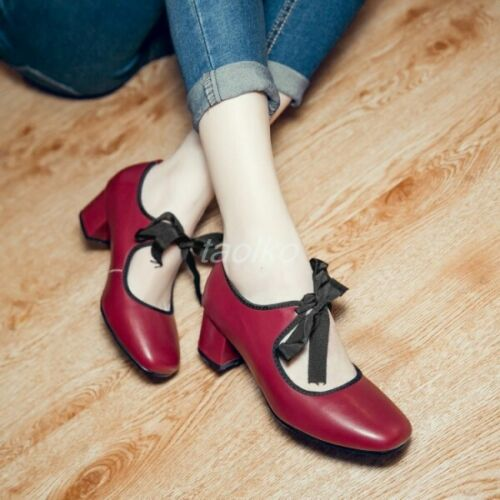 Chic Womens Square Toe Lace Up Heels Block High heeled PU Leather Shoes Sz/_