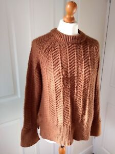 dc6beeb03d0 Details about H&M Chunky Knitted Rich Ginger Brown Wool Acrylic Blend  Jumper S 8 10 UK