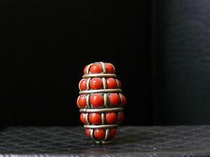 (eC019) Himalaya Old Tribal  Handmade Brass & Coral Bead. Good Quality