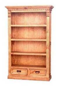Rustic Pine Four Shelf Bookcase With Trim Western Solid Wood Ornate Detail Cabin