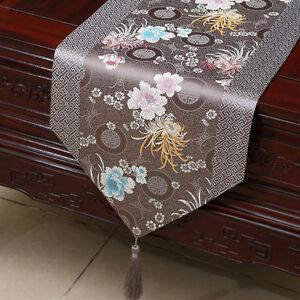 Damast-Tischlaeufer-grau-chinesische-Tischdecke-Geschenk-fuer-Altere-Menschen