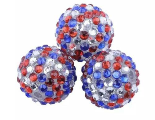 20mm 4th of July red White /& blue rhinestone bubblegum beads 5 or 10 pieces