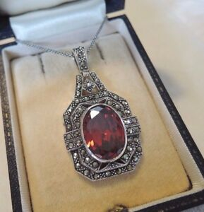 Art deco garnet and marcasite pendant necklace sterling silver ebay image is loading art deco garnet and marcasite pendant necklace sterling aloadofball Images