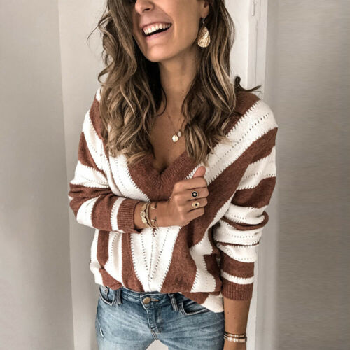 Womens Long Sleeve V Neck Knitted Sweater Ladies Casual Loose Striped Jumper Top