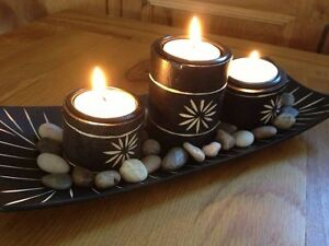 Bamboo-Candle-Holders-set-3-tea-light-Tray-Polished-Stones-pebble-feng-shui-gift