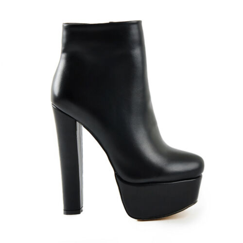 Onlymaker Women/'s Rounded Toe Side Zipper Chunky Platform Ankle Bootie Big Size