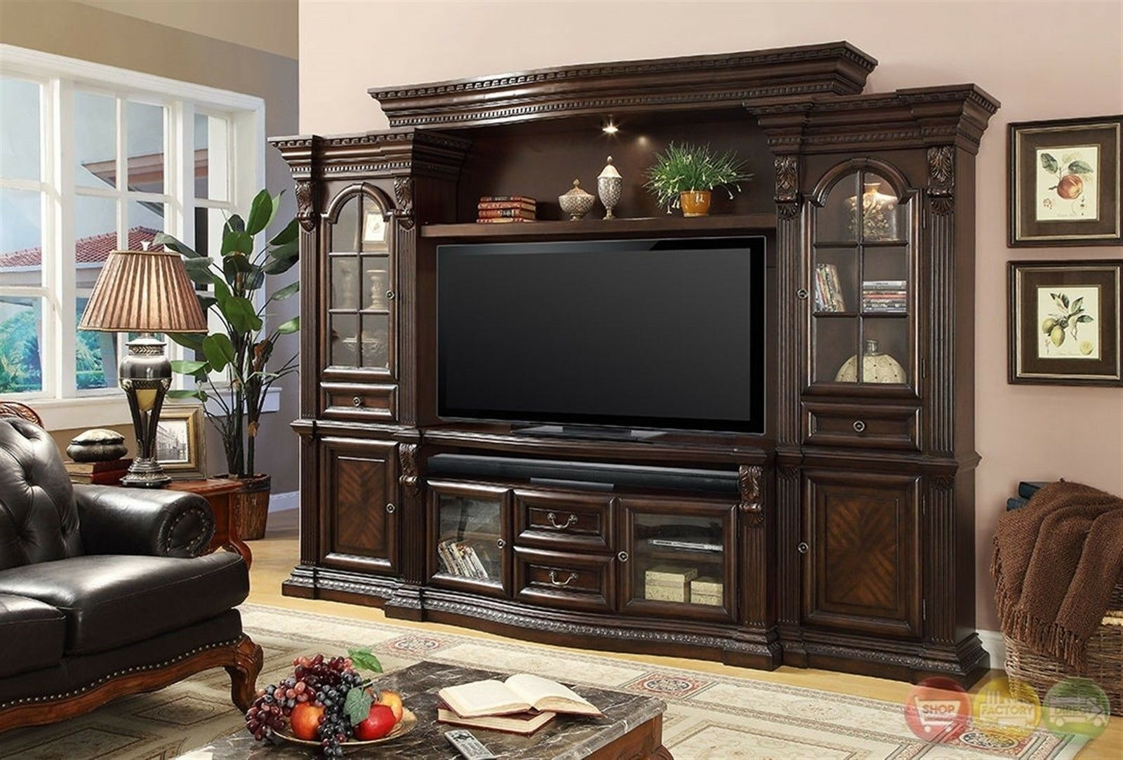 Details About Parker House Bella Traditional Dark Wood Entertainment Center 132 5 Wall Unit