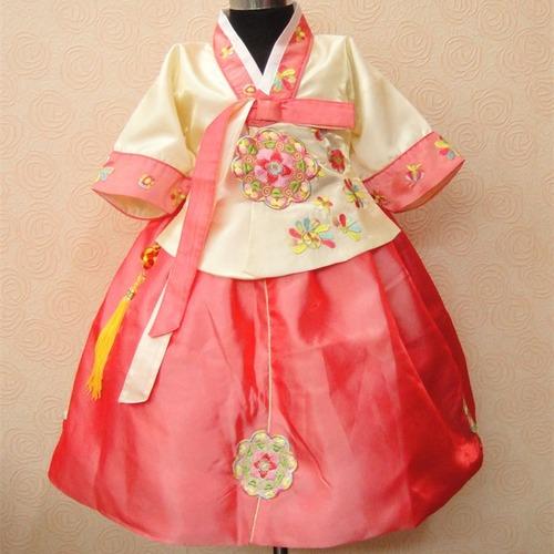 Embroidered Children Korean Princess Dress Chinese Costumes Hanbok Performance