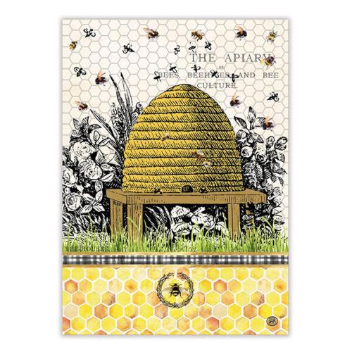 "Michel Design Works Honey /& Clover Natural Woven Cotton Kitchen Towel 20/"" x 28/"""