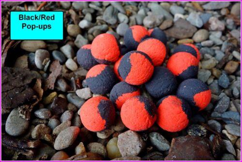 Non Aromatisé ou aromatisé /& Trempé Cadeau Gratuit + Noir Rouge Pop-ups Boilies 16 mm