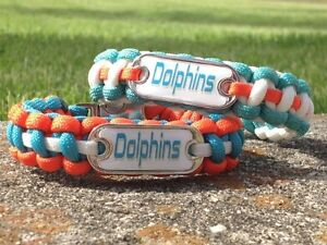Miami Dolphins Paracord Bracelet w/ NFL Dog Tag and Metal Buckle. AWESOME!!!
