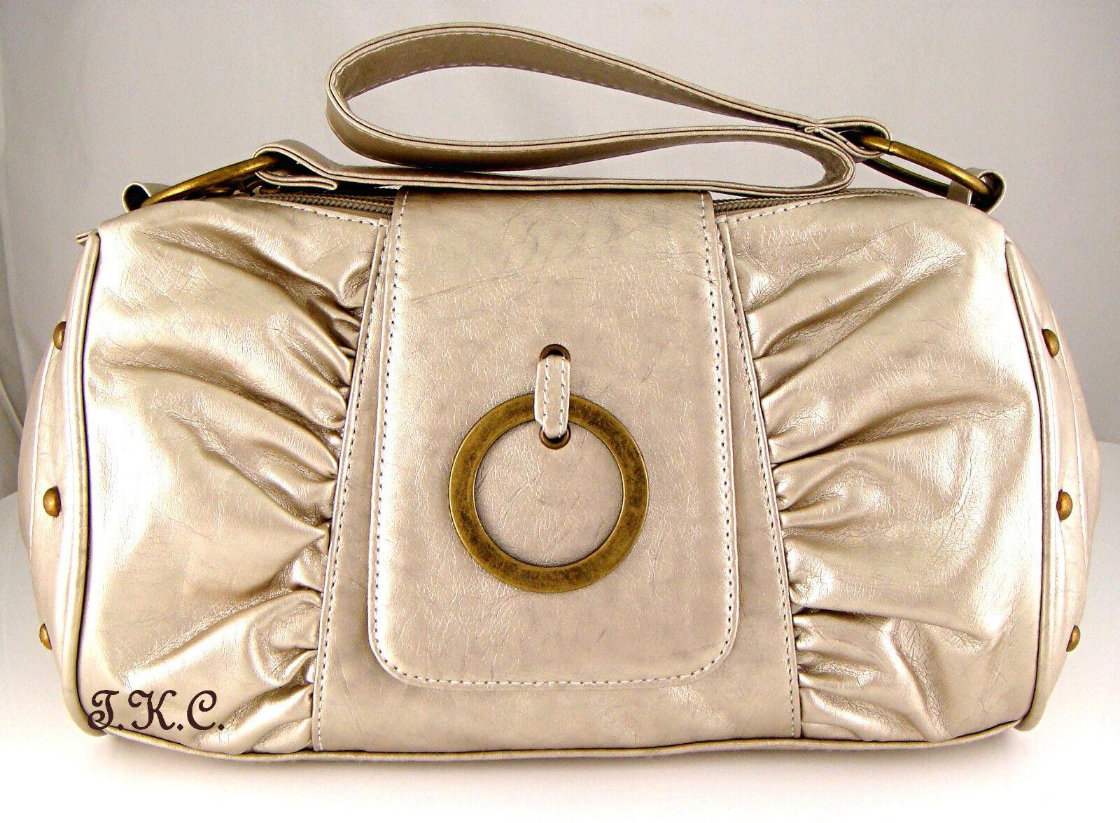 Ruched Soft Metallic Brown Oyster Gold Vegan Leather Compartment Shoulder Bag