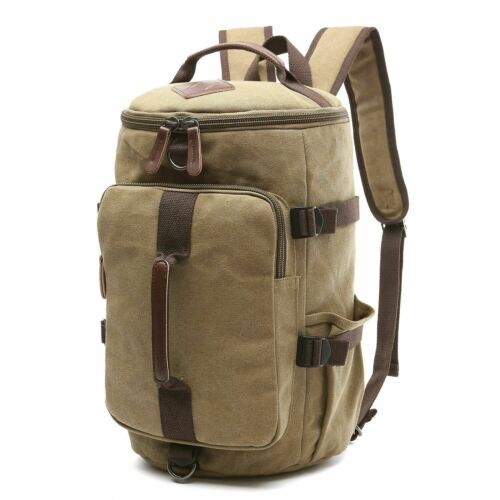 Dasein Vintage Military Men/'s Canvas Backpack Travel Hiking Duffle Rucksack Bag