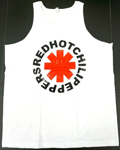 RED HOT CHILI PEPPERS Tank Top T-shirt RHCP Distressed Logo Adult Mens White New