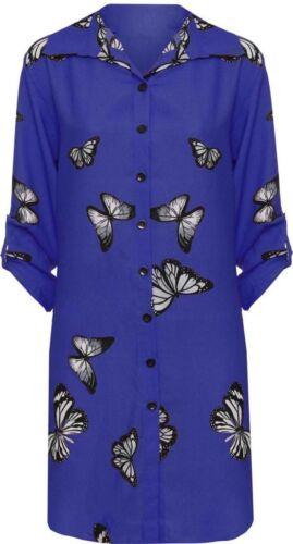 Womens Plus Size Ladies Chiffon Hi Low Dip Hem Butterfly Long Shirt Top 14-28