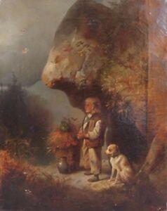 Meno-Muhlig-1823-1873-huile-sur-toile-enfant-et-son-chien-deutsche-Malerei