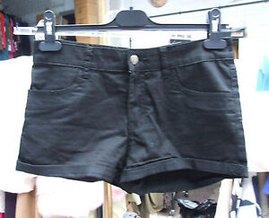 Divided-H-amp-M-Girl-039-s-Ladies-Black-Jeans-Shorts-Hot-Pants-UK-Size-10