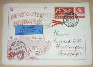 Brief-Bern-Schweiz-1929-Luftpost-Flugpost-Zuerich-Kongress-Ganzsache-GA-78