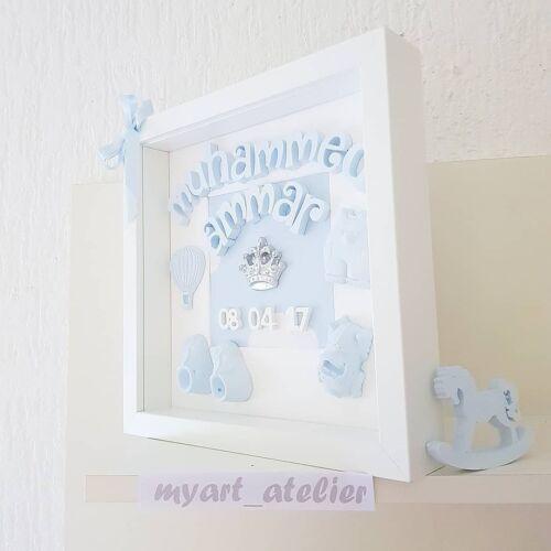 Baby Geburt Geschenk Taufe Geburtstag 3D Bilderrahmen Personalisiert Geschenkide