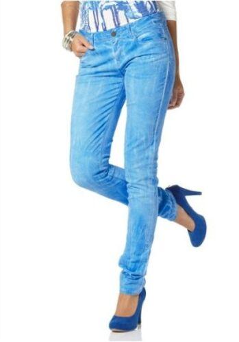 Laura Scott Jeans Gr.36-46 Damen Hüft Hose Stretch Blau Batikoptik Slim Fit L32