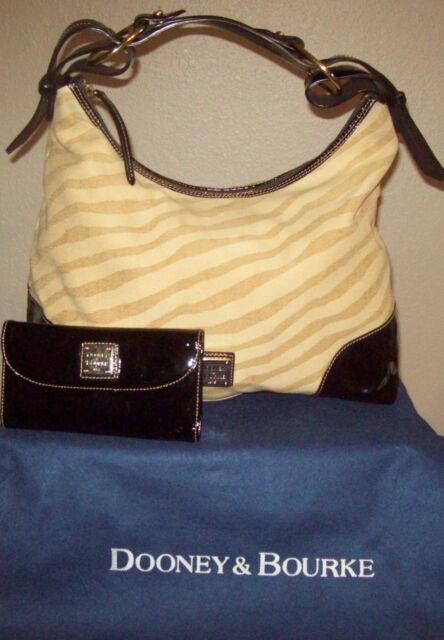 e634a0241a28 Dooney   Bourke Nikki Large Zebra Print   Patent Leather Trim Purse Wallet  Set