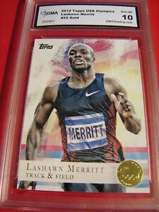 LASHAWN-MERRITT-TRACK-amp-FIELD-2012-TOPPS-US-OLYMPICS-GOLD-22-GRADED-10-L-K