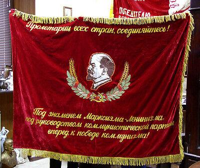 Soviet RUSSIAN FLAG BANNER PROPAGANDA LENIN velvet ORIGINAL CCCP communist USSR