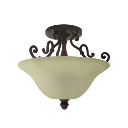 Antique Bronze And Finished Wood Accent Semi Flush Ceiling Light Fixture