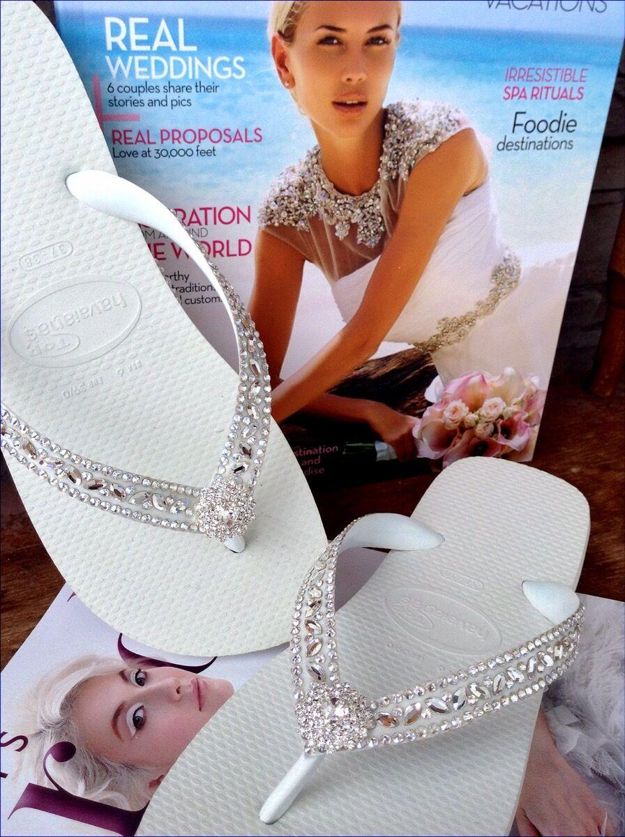 Havaianas Ojotas de Diamantes de Imitación de Cristal Cristal Cristal Nupcial Zapatos de boda de playa con Swarovski  online barato