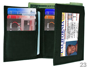 BLACK-GENUINE-LEATHER-ID-WINDOW-12-CREDIT-CARDS-MENS-TRIFOLD-WALLET