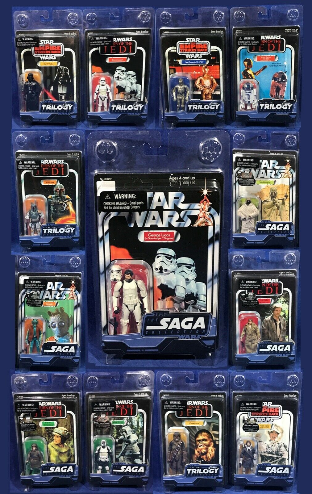 HUGE LOT 13 Star Wars Figure TRILOGY COLLECTION Vintage SAGA Clamshell OTC Lucas