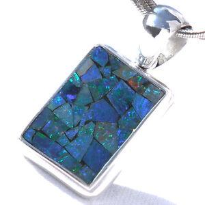 OP06-Opal-SILBER-925-27mm-Anhaenger-f-Kette-silver-925-Dublette-Mosaik-pendant